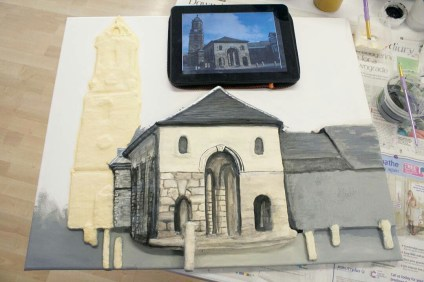 "More brickwork detail painted on the Pontefract ""Buttercross and St Giles Church"" 3D Acrylic Painting."