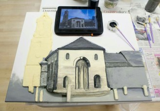 "Painting the brickwork on the Pontefract ""Buttercross and St Giles Church"" 3D Acrylic Painting."
