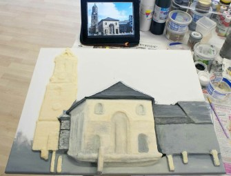 "More details painted on the Pontefract ""Buttercross and St Giles Church"" 3D Acrylic Painting."