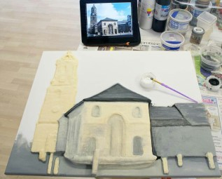 "Starting to paint more details on the Pontefract ""Buttercross and St Giles Church"" 3D Acrylic Painting."