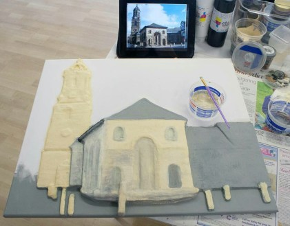 "Painting a basecoat first on the Pontefract ""Buttercross and St Giles Church"" 3D Acrylic Painting then starting to add more tones and details to it."