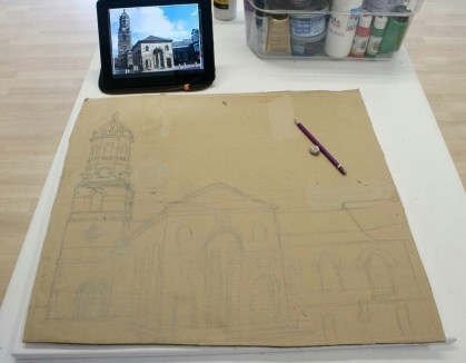 "I started by drawing out the Pontefract ""Buttercross and St Giles Church"" 3D Acrylic Painting onto a piece of cardboard that I'd already cut to the size of the canvas that I was going to use."