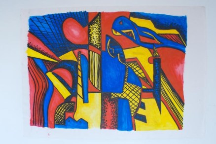 Primary colour Futurism inspired acrylic painting