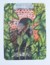 Acrylic painting of the railway bridge going over the beck where we take the dogs for a walk near my parent's house.