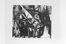 Darker version of Black/white screen print version of Fabulous Beast II, Horse painting by Franz Marc