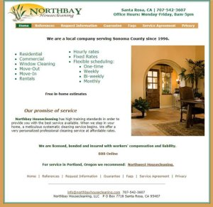 Northbay Housecleaning website for cleaning service in Santa Rosa CA