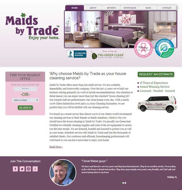 Maids by Trade with location finder as of 2012