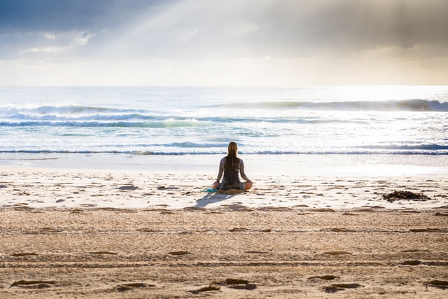 Guided meditation on beach