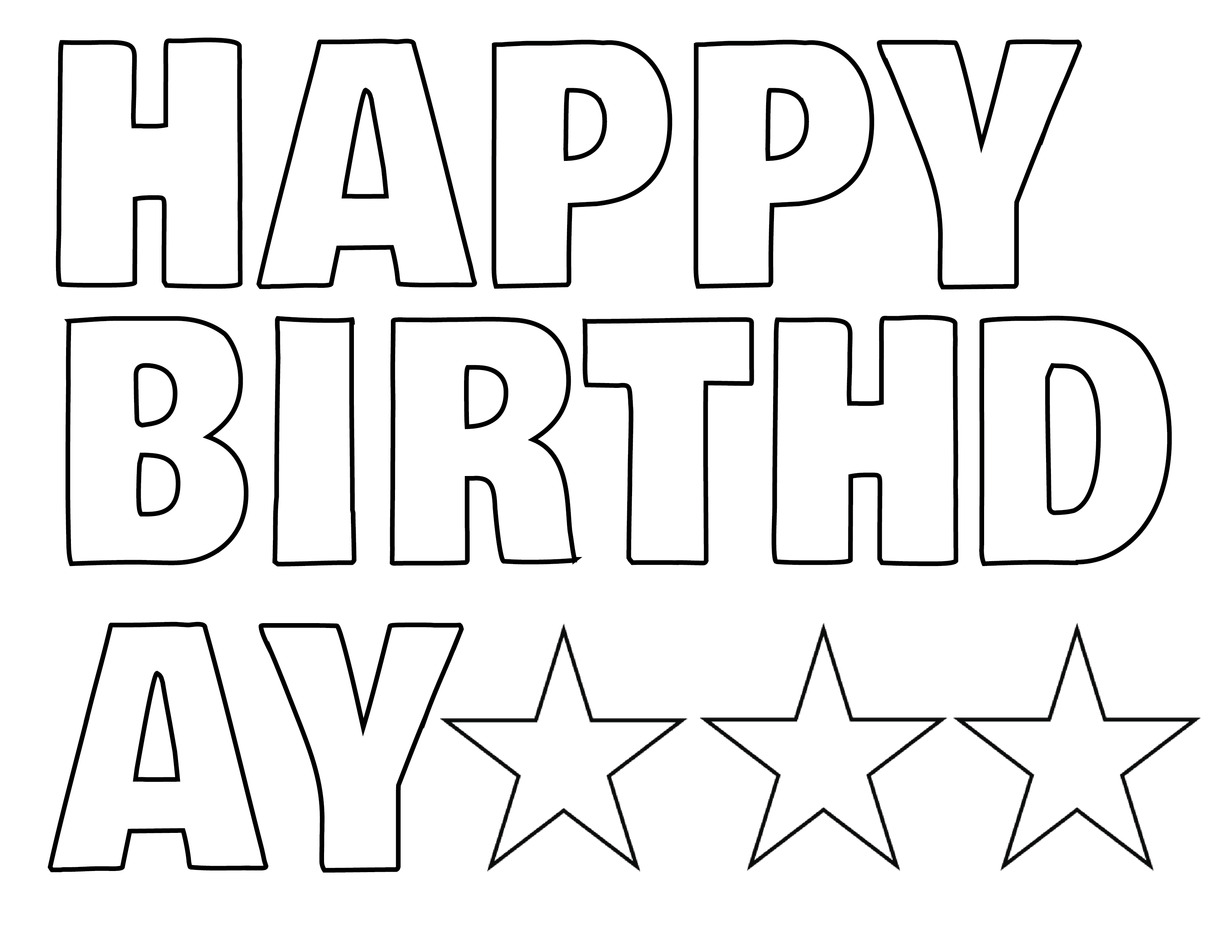 Happy Birthday Print Out Letters Sketch Coloring Page