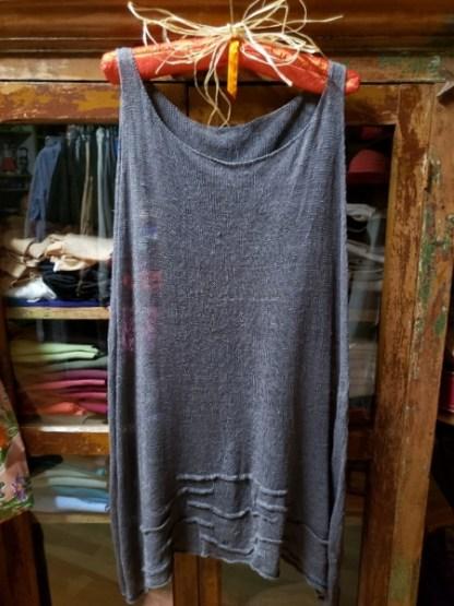 Cara May Big Wavy Graphite Knit Tank 3413