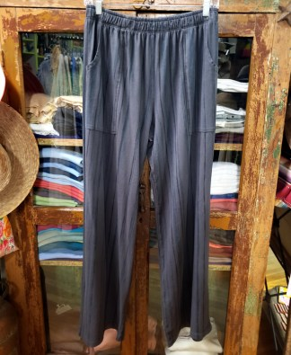 Prairie Cotton Charcoal Pants with subtle black and olive stripes 0440