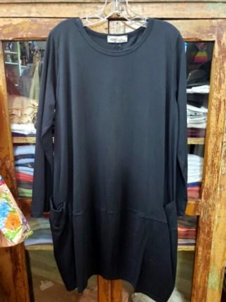 Baci Black Long Sleeve Bucket Pocket Dress 5558