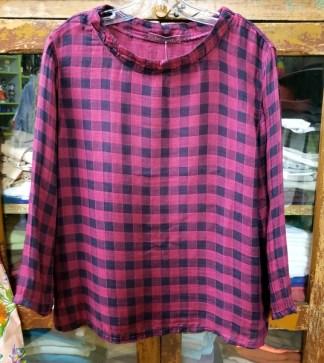 cut loose Mock Neck Top - Check Double Cloth in Cranapple 2656
