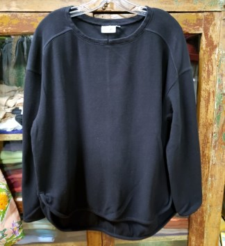 Prairie Cotton Loose Long Sleeve Drop Shoulder Top in Black 0253