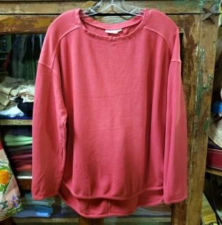 Prairie Cotton Loose Long Sleeve Drop Shoulder Top in Redwood 0340