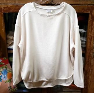 Prairie Cotton Loose Long Sleeve Drop Shoulder Top in Milk 0414