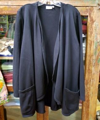 Prairie Cotton Drape Cardigan Two Pocket in Black 0622