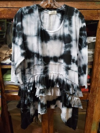 Krista Larson Black Ruffle Shirt Long Sleeve Tie Dye 4403