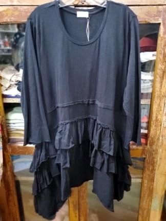 Krista Larson Black Ruffle Shirt Long Sleeve 1240