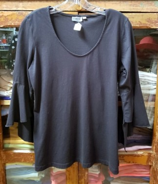 Prairie Cotton Black Flutter Sleeve T 4157