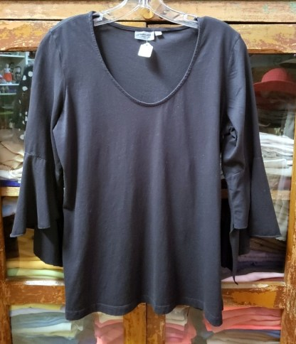 Prairie Cotton Black Flutter Sleeve T 4157