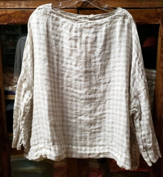 Metta Melbourne Sailor Boxy Top Fine Gauze Natural/White Small Check 4259