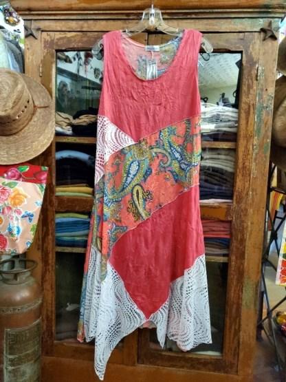 Vine Street Apparel Mixed Dress 504 Chili