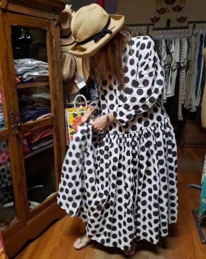 Véritécoeur Dress White/Grey Dot Cotton 3444