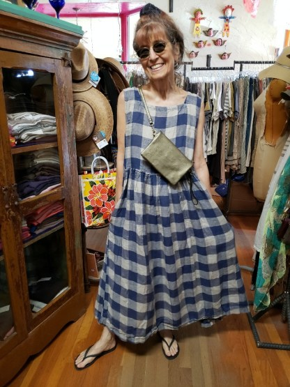 Metta Melbourne Dahlia Natural and Blue Check Dress 1516 L/XL = OS