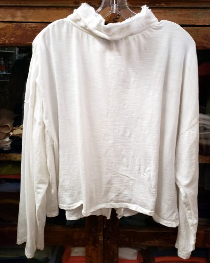 Krista Larson Anemone White Cropped Cardigan Long Sleeve