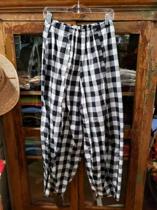 Krista Larson Black Checked Cotton Lawn Origami Pants