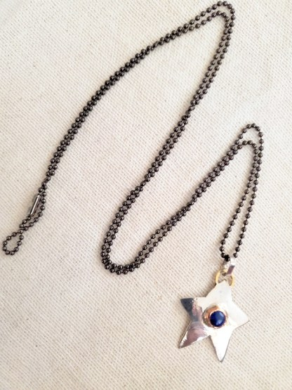 Cindy Bolin Sterling Silver Star Pendant with Copper Bezel and Blue Stone