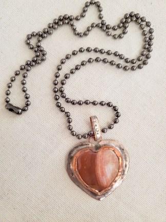 Cindy Bolin Heart ... Copper/Sterling Silver/Jasper Stone with Oxidized Chain