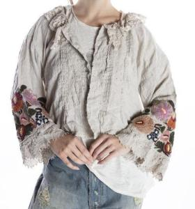 Magnolia Pearl Anna Lucia Cropped Layering Blouse Top 946 -- Antique White