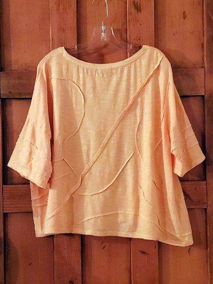 Krista Larson Cactus Tee Shirt Crop Short Sleeve 3311 Apricot