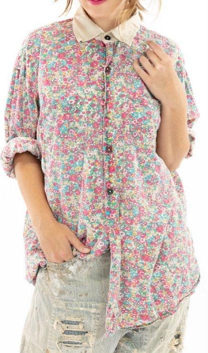 Magnolia Pearl Cotton Printed Boyfriend Shirt Top 1040 -- Clover