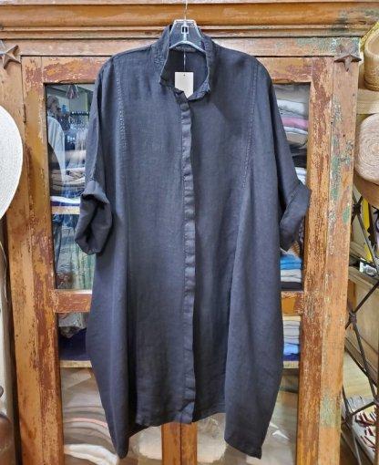 cut-loose Kimono Shirt Dress Black