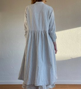 Metta Melbourne Faye Dress 5343 Seersucker Light Grey Stripe