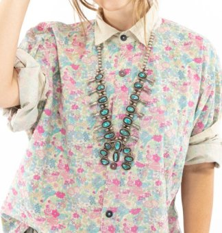 Magnolia Pearl Cotton Printed Boyfriend Shirt Top 1040 blue bird