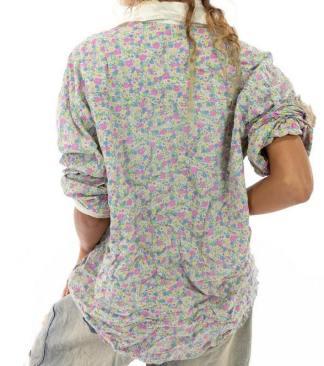 Magnolia Pearl Cotton Printed Boyfriend Shirt Top 1040 -- Sierra