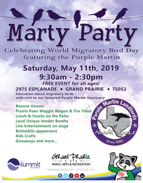 Marty Party Saturday, May 11, 2019 from 9:30 A.M. - 2:30 P.M.