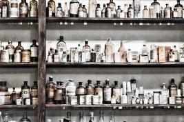 Apothecary bottles on shelf 7330 sm
