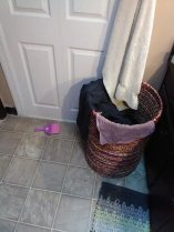 slob, humor, laundry hamper- with purple!