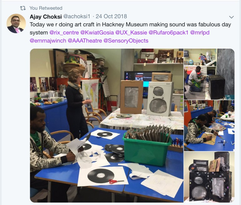 This image shows a workshop at Hackney Museum with purpleSTARS working with the art group to make a sound system.