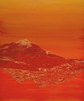Orange monochromatic landscape picture of a mountain