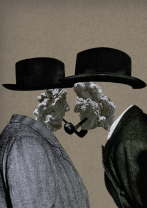 Surreal style collage of two defaced men smoking a pipe.