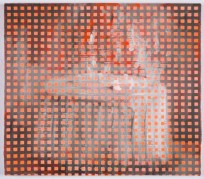 Portrait of a white table layered with orange squared texture.