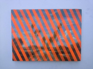 Painting of a landscape layered with thick oblique fluorescent orange stripes.