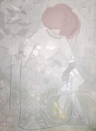 Artwork of a full body classic woman portrait manipulated.