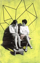 Artwork of two woman portrait seated on a bench with a yellow background.